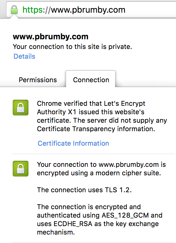 Screenshot of TLS certificate
