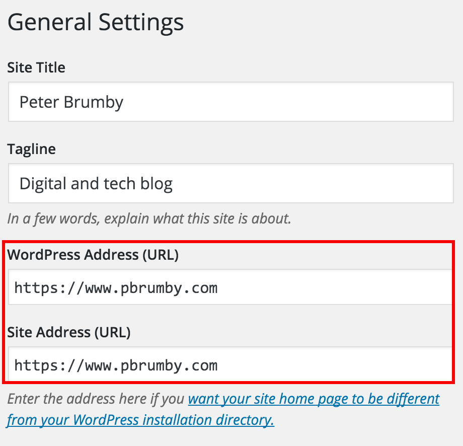 Screen shot of WordPress General Settings page