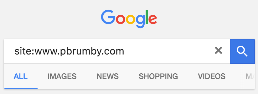 Google search box with site operator site:pbrumby.com