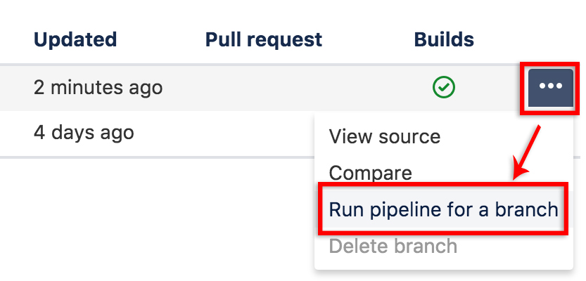 Screenshot to manually deploy pipeline