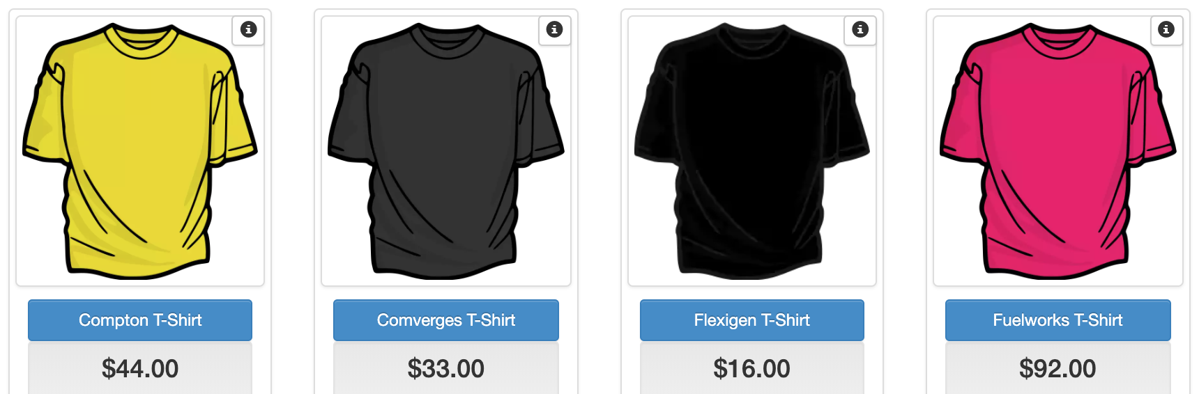 Screenshot of t-shirt on a fictional e-commerce website